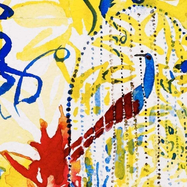close up of the watercolor painting with a yellow and blue complex abstract background with organic shapes and dots with a red and blue bird in a blue cage