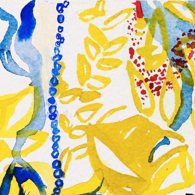 close up of the watercolor painting with a yellow and blue complex abstract background with organic shapes and red dots