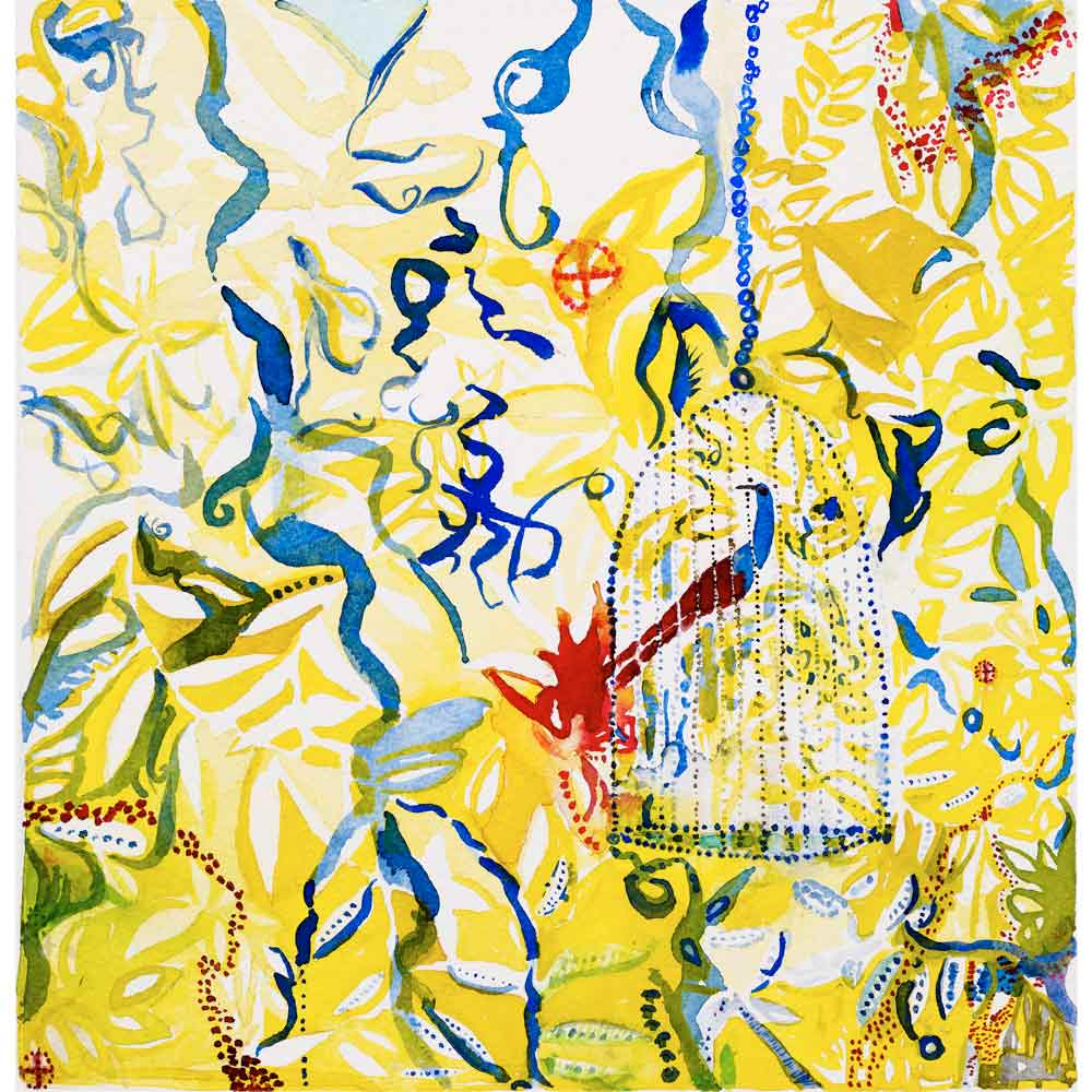 watercolor painting with a yellow and blue complex abstract background with organic shapes and dots with a red and blue bird in a blue cage