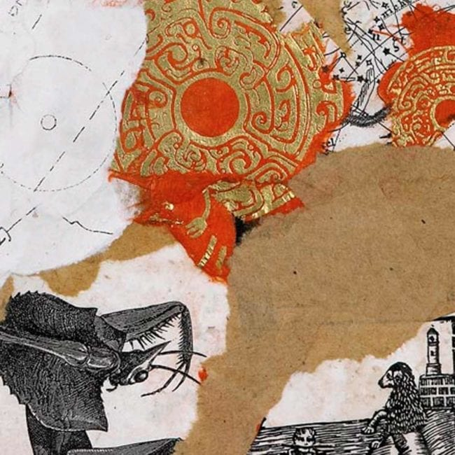 mixed media collage with a background of torn tan and white paper as well as a red and gold circle patterned ornate paper and a black and white insect illustration