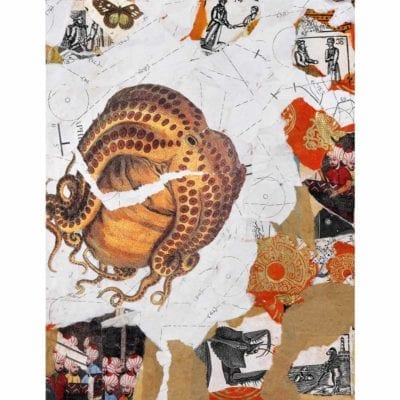 mixed media collage with a background of torn tan and white paper with a large octopus illustration in the center