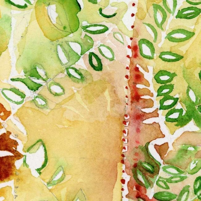 close up of the watercolor painting with a yellow background and green and red abstracted leaves as well as a line of small red dots