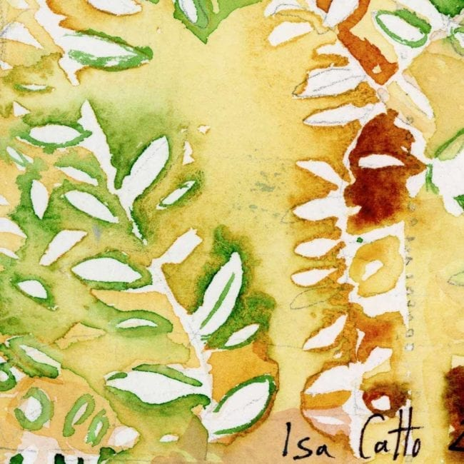 close up of the watercolor painting with a yellow background and green and red abstracted leaves as well as a line of small red dots with the artist's signature at the bottom