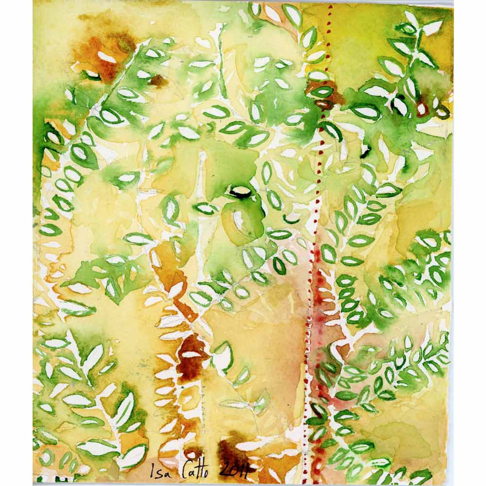 watercolor painting with a yellow background and green and red abstracted leaves as well as a line of small red dots