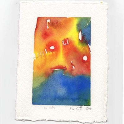 watercolor small white holes surrounded by blue, red, and yellow