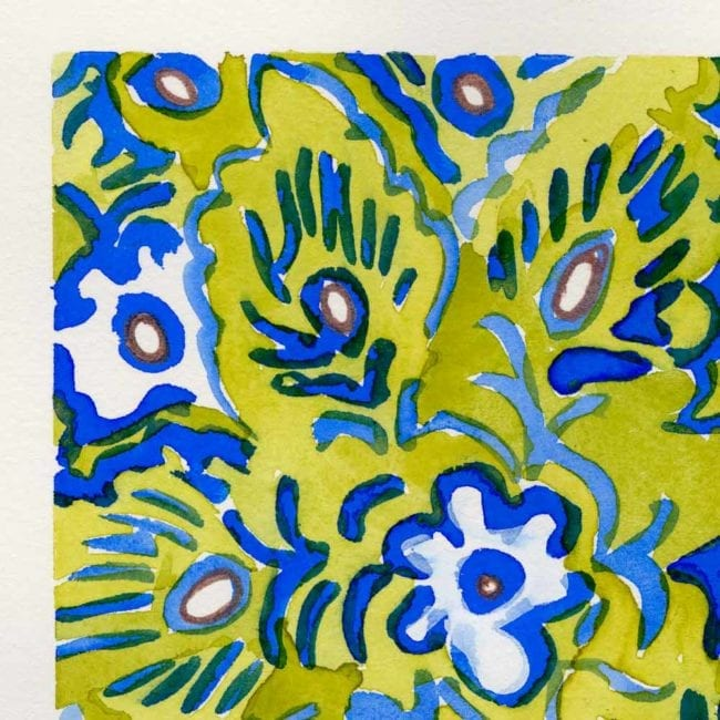 close up of the watercolor painting of botanical flower patterns in green, blue, and cool yellow inspired by vintage wallpaper