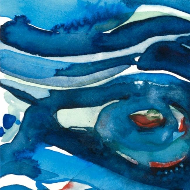 close up of the whirlpool original watercolor painting of abstracted water swirls in dark and light blue as well as a red and green accented whirlpool