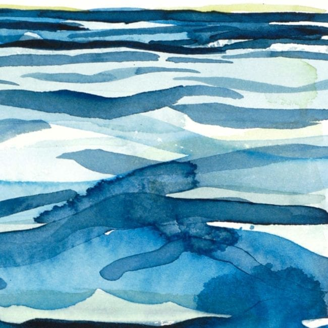 close up of the whirlpool original watercolor painting of abstracted water swirls in dark and light blue