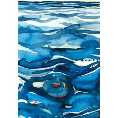 whirlpool original watercolor painting of abstracted water swirls in dark and light blue as well as a red and green accented whirlpool