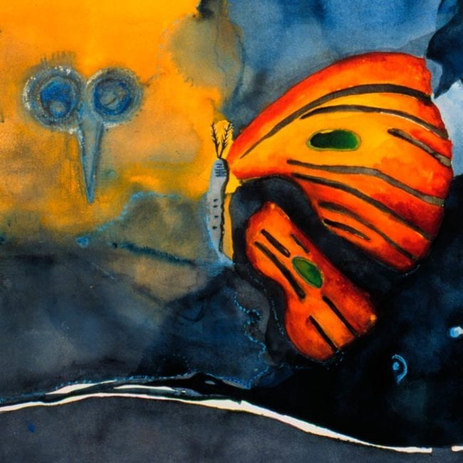 close up of the image of the watercolor landscape painting with blue and black and yellow swirling blotchy watercolor sky and a large orange butterfly