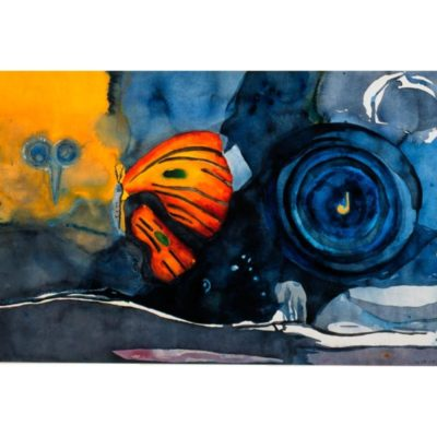 watercolor landscape painting with blue and black and yellow swirling blotchy watercolor sky and a large orange butterfly