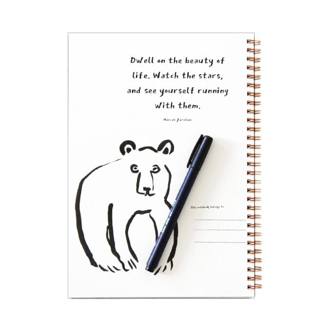 inside of spiral notebook with bear sketch and pen