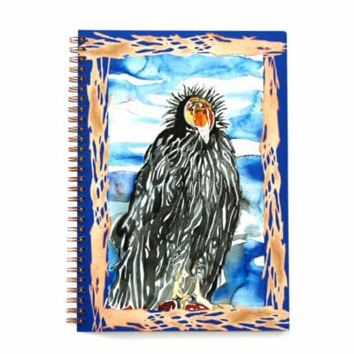 top view of wire bound notebook featuring a bold watercolor california condor and abstracted nest border