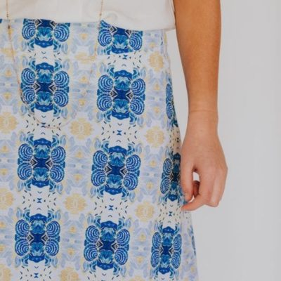 blue flower kaleidoscope skirt up close