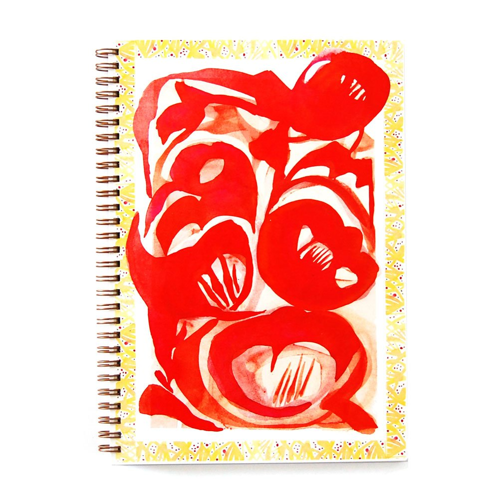 wire bound notebook with vibrant red abstracted poppy design with yellow graphic border
