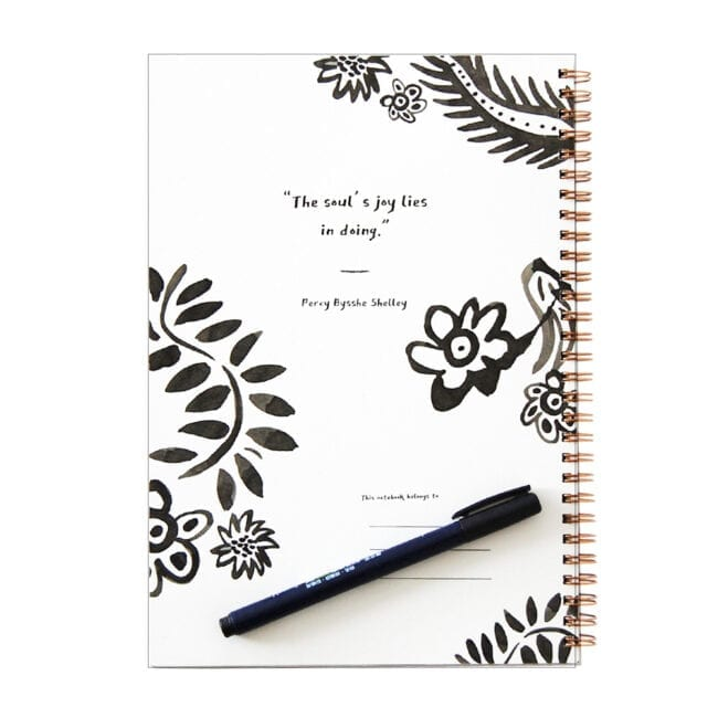 """Interior cover of a Poppy flower themed notebook with some drawings of poppies and the quote """"The soul's joy lies in doing."""" by Perry Bysshe Shelley"""