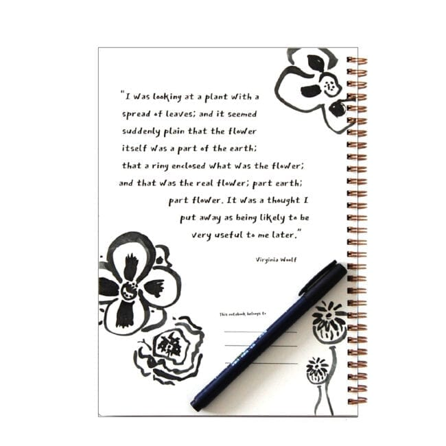inside cover of a notebook with black and white flower sketches and a quote by Virginia Woolf