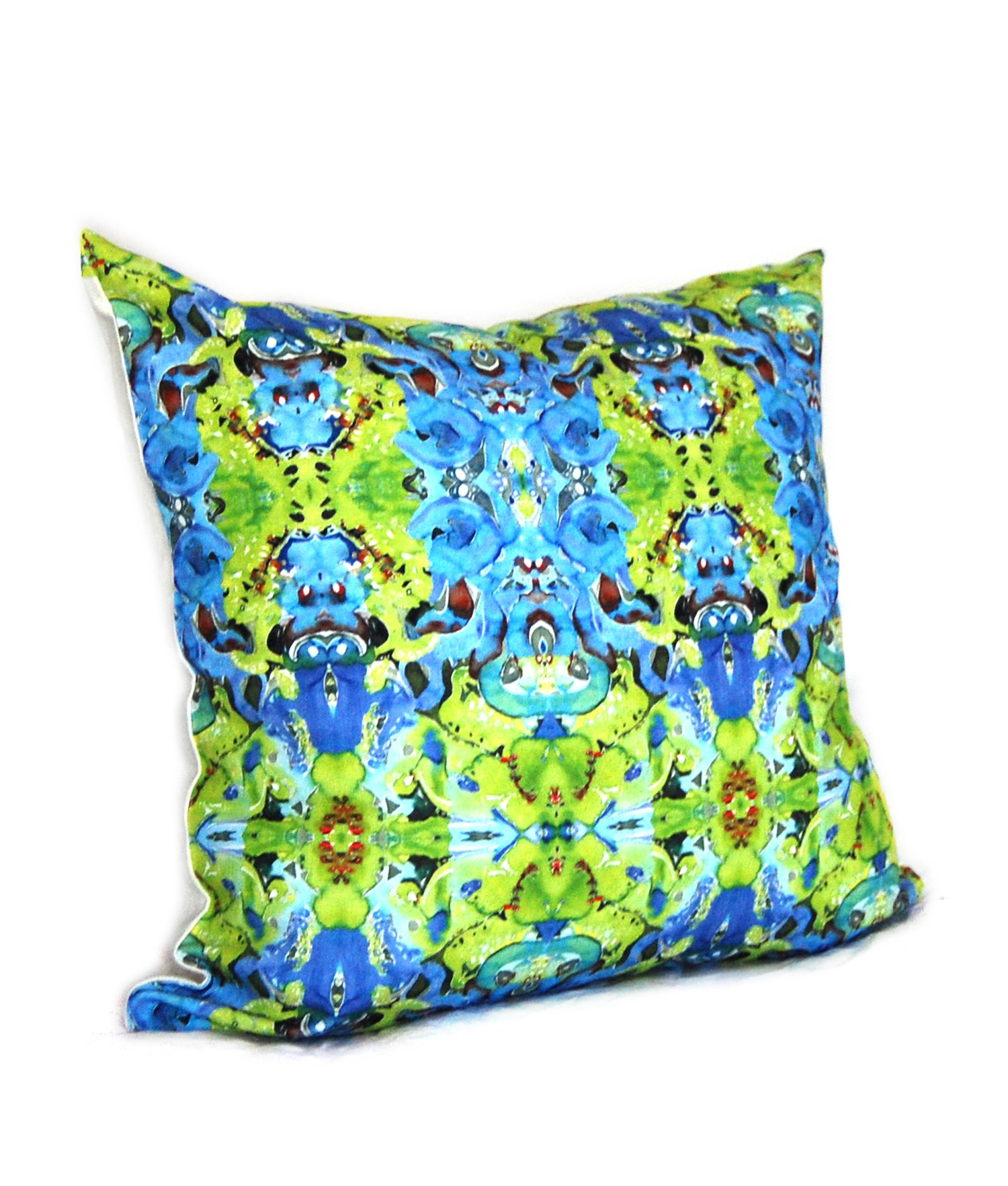 green and blue kaleidoscope abstract pattern throw pillow cover