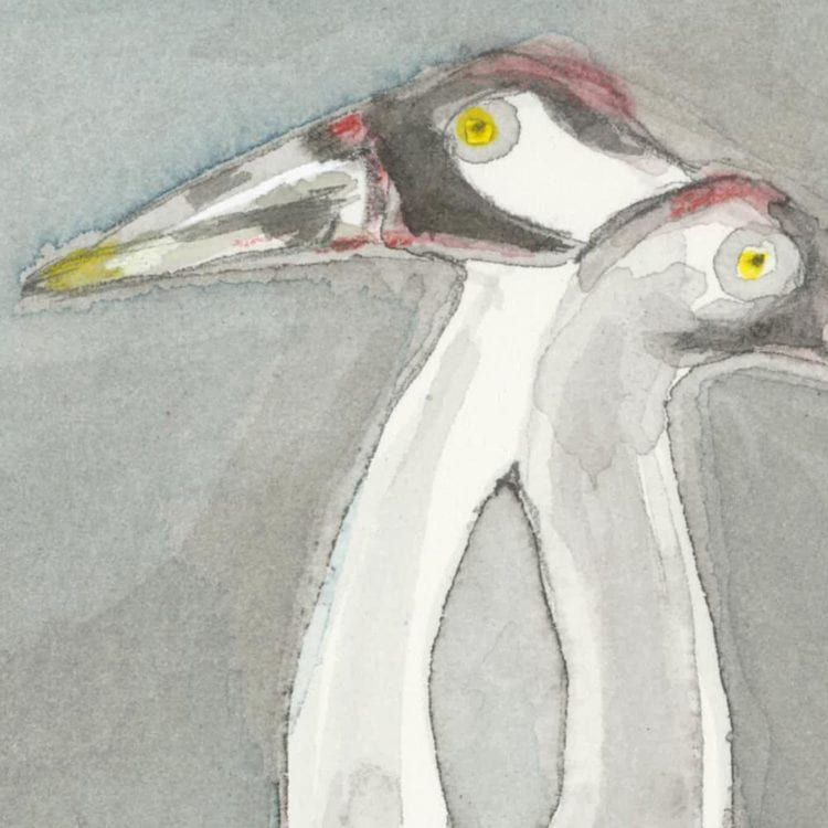 detail of the watercolor of two whooping cranes heads with yellow highlights in their beaks and red on their heads