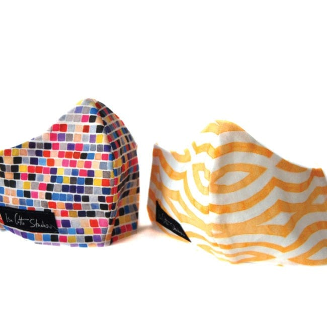 multicolored small squares and yellow white geometric patterned face masks