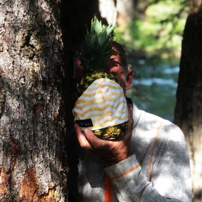 man leaning against tree holding pineapple in front of face with a cloth face mask with a white and yellow wavy line pattern
