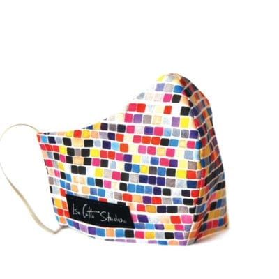 cloth face mask with small geometric pattern of colorful squares