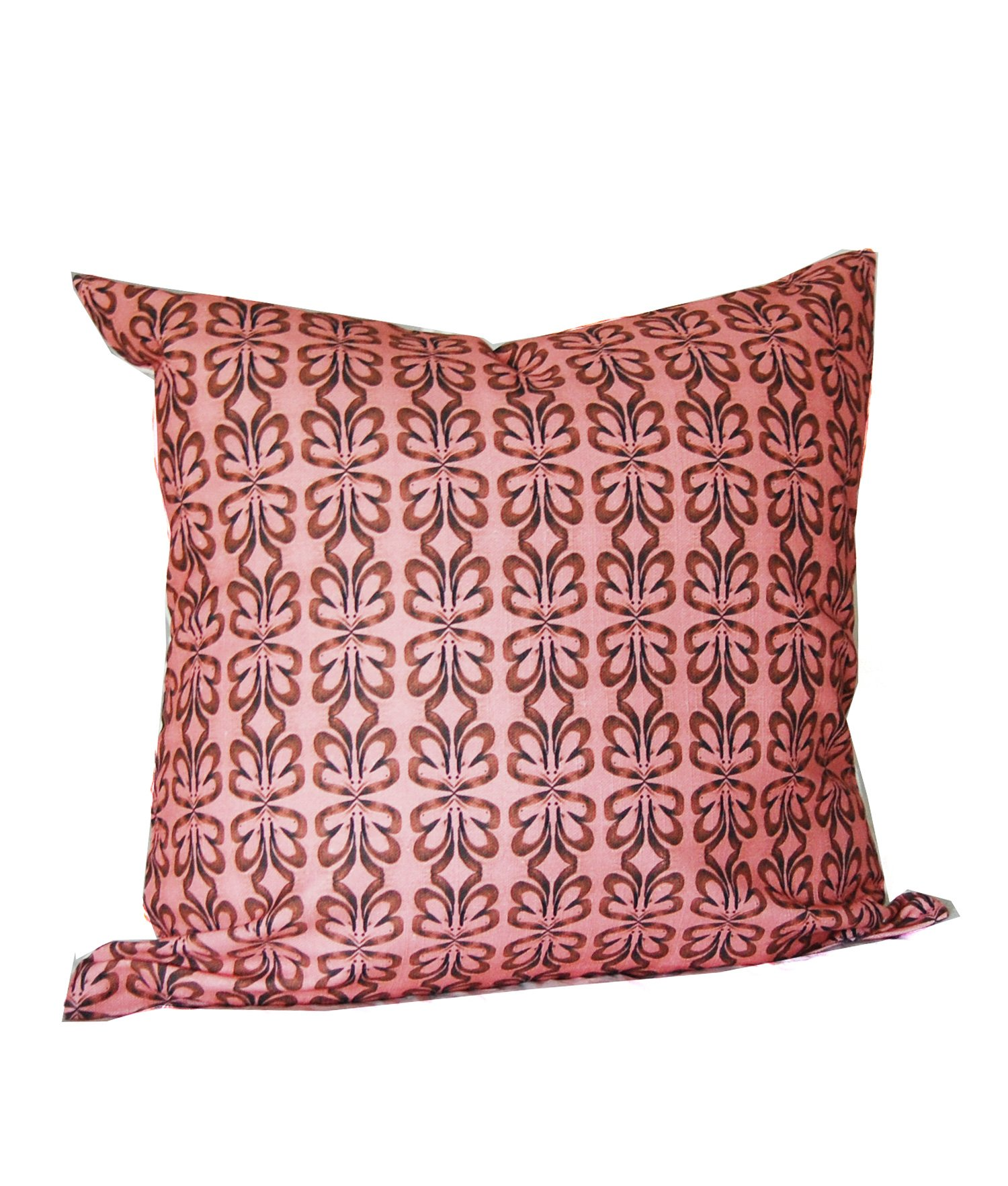 pink and brown cloverleaf geometric pattern throw pillow