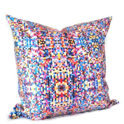 multi-colored square repeat pattern design based on the mathematical number Euler in a throw pillow