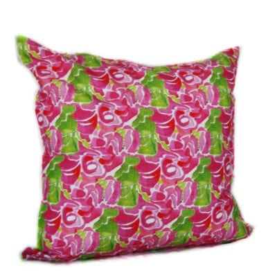 colorful pink green rose patterned throw pillow cover