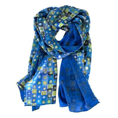blue and green geometric pattern silk scarf with blue back