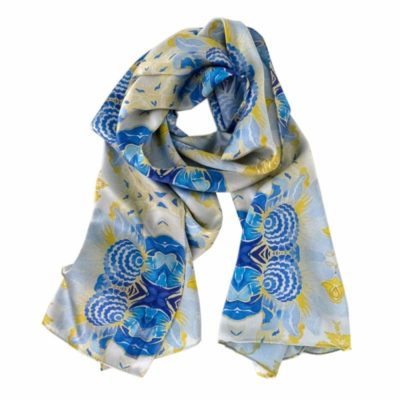 blue floral pattern in kaleidoscope with yellow silk scarf