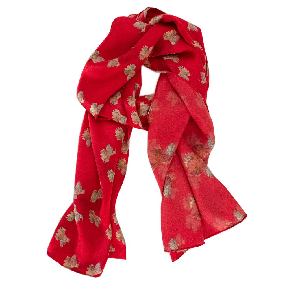 red silk scarf with hummingbirds