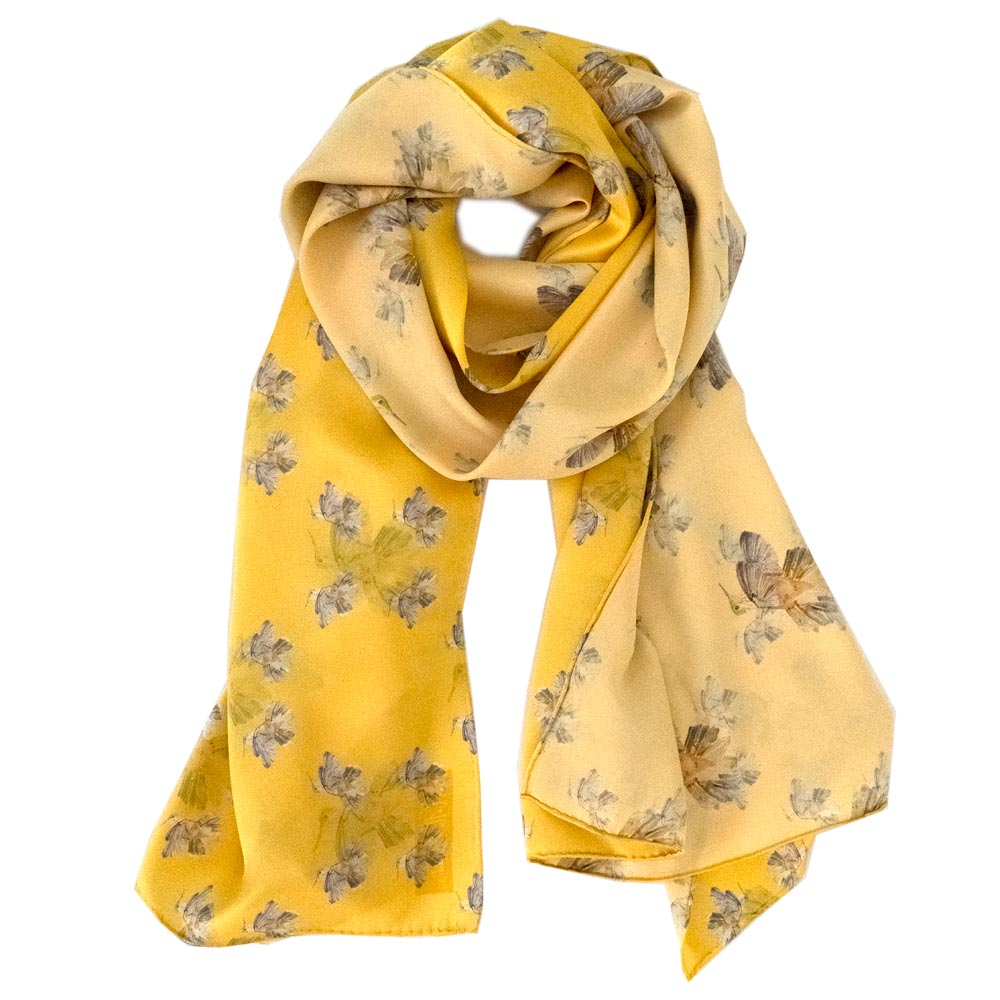 yellow silk scarf with hummingbirds on it