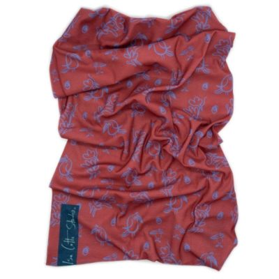 red and blue small bird and leaf pattern neck tube, fabric outdoor gaiter