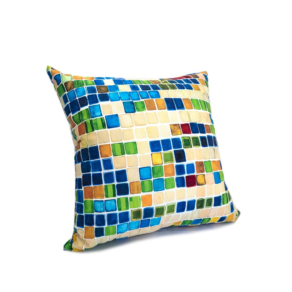 throw pillow with colorful pattern of blue yellow and green squares