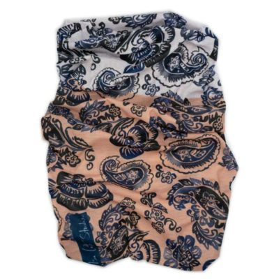 blue and black floral pattern with white and pink background neck tube