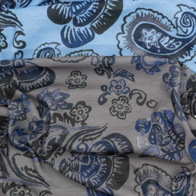 detail of black and blue floral pattern on gray and blue background