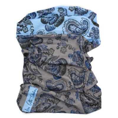 black and blue floral pattern neck tube with gray and blue background