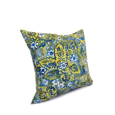 throw pillow with colorful green blue and white floral pattern
