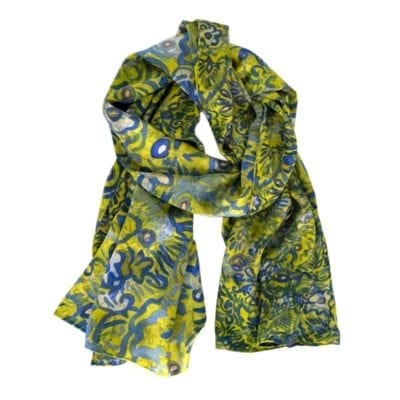 green and blue floral silk scarf with white background