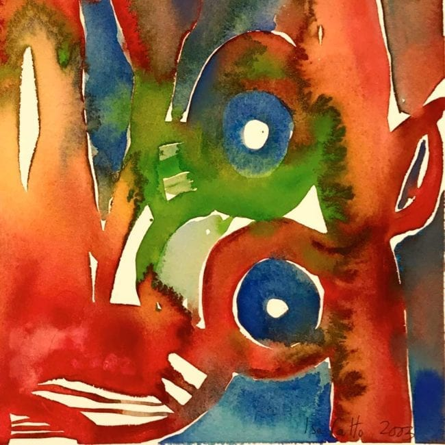 close up of the brushfire original abstract watercolor painting with red, green, orange, and blue organic abstract patterns