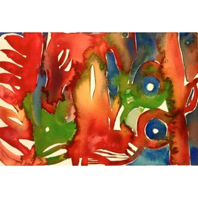 brushfire original abstract watercolor painting with red, green, orange, and blue organic abstract patterns