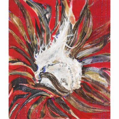 bull thistle original semi abstract acrylic and oil painting with a bright red background and white, brown, and gray organic shapes
