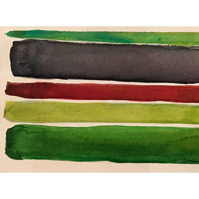 close up of the atlas mountains watercolor color study with dark green, dark gray, deep red, yellow green, and grass green horizontal stripes