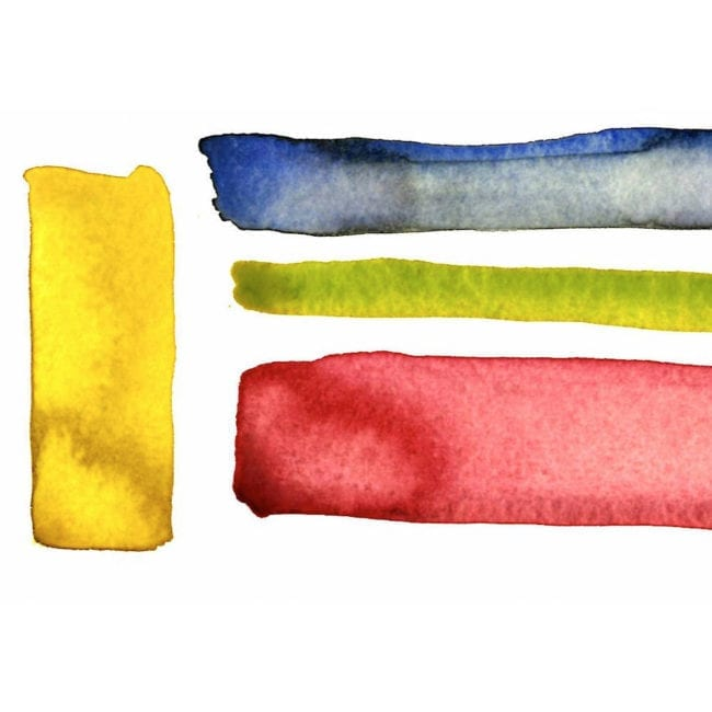 close up of the original watercolor color study with a bright yellow thick vertical stripe and blue gray, yellow green, and light red horizontal stripes and the title of the piece inscribed underneath