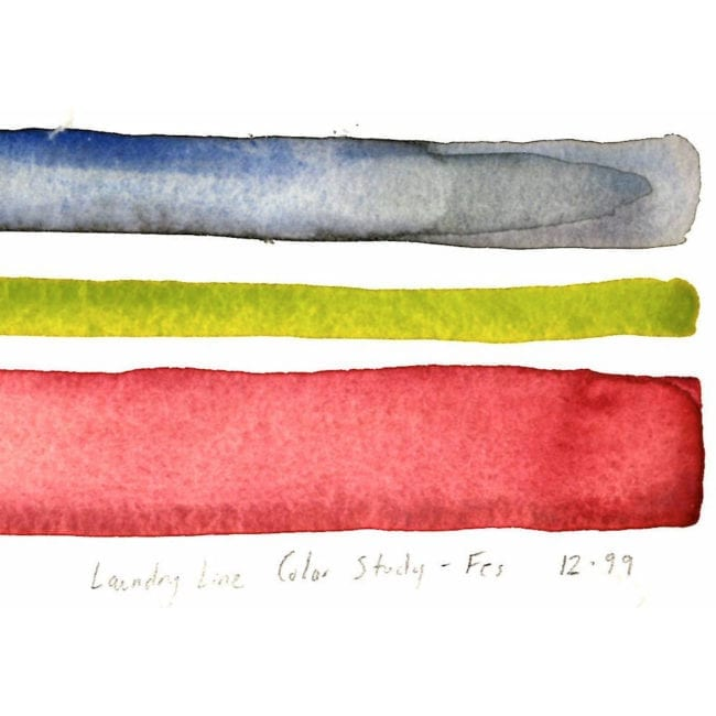 close up of the original watercolor color study with blue gray, yellow green, and light red horizontal stripes and the title of the piece inscribed underneath
