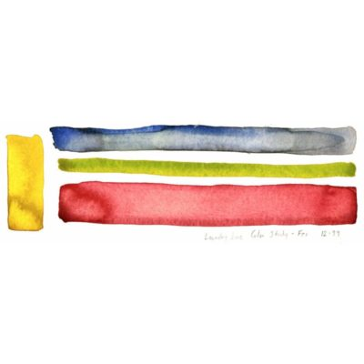 original watercolor color study with a bright yellow thick vertical stripe and blue gray, yellow green, and light red horizontal stripes and the title of the piece inscribed underneath