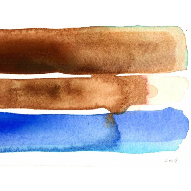 close up of the long island bahamas watercolor color study with dark brown, light brown, and deep blue horizontal stripes with the colors bleeding into one another and the title of the piece inscribed underneath