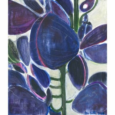 circuit original acrylic and oil painting inspired by lilac flowers with deep purple and blue blossom shapes, dark green stems, and an off-white textured background