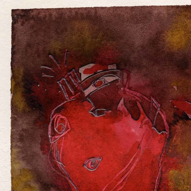 close up of the corazon original 9/11 watercolor painting with a bright red anatomical heart in the center of the painting and a purple, brown, and yellow background